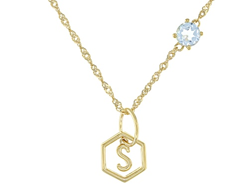 """Photo of .53ct Round Glacier Topaz(TM) 18k Yellow Gold Over Sterling Silver """"S"""" Pendant With Chain"""