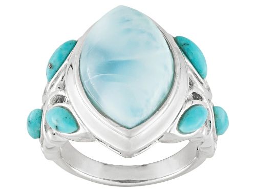 Photo of Marquise Cabochon Larimar With Marquise Cabochon Turquoise Sterling Silver Ring - Size 5