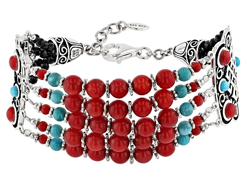 Photo of Global Destinations™ Coral, Turquoise, & Black Spinel Rhodium Over Silver Multi-Strand Bead Bracelet - Size 7.25