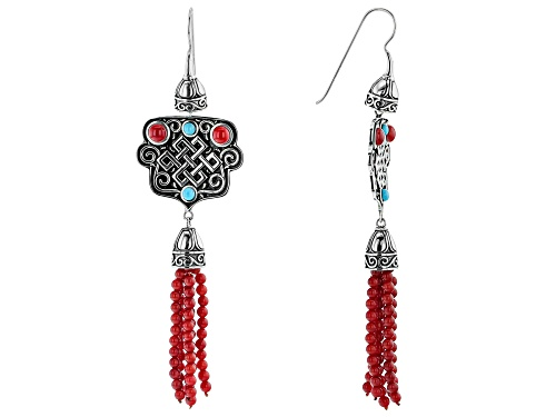 Photo of Global Destinations™ Coral and Turquoise Rhodium Over Sterling Silver Bead Tassel Earrings
