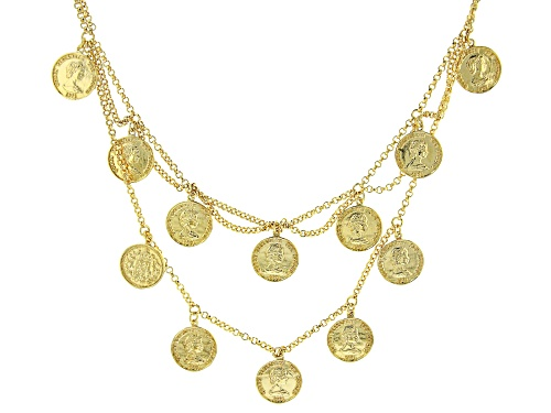 Photo of Global Destinations™ 18k Gold Over Silver Coin Replica Multi-Row Charm Necklace - Size 18
