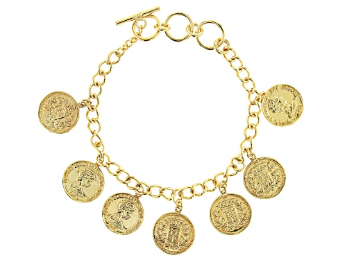 Photo of Global Destinations™ 18k Gold Over Sterling Silver Coin Replica Charm Bracelet - Size 7.25