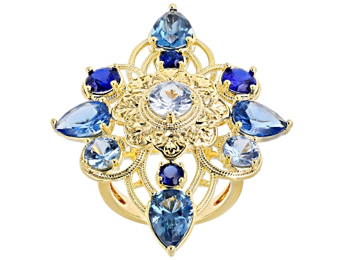 Global Destinations™ 7.71ctw Multi-Color Lab Created Blue Spinel 18k Gold Over Brass Ring - Size 8