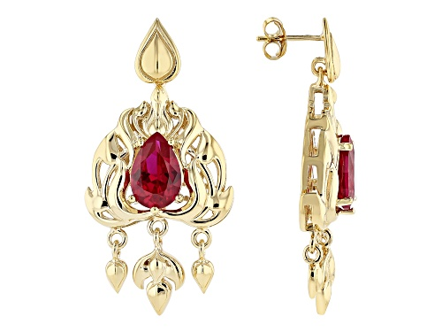 Photo of Global Destinations™ 6.81ctw Pear Shape Lab Created Ruby 18K Yellow Gold Over Silver Earrings