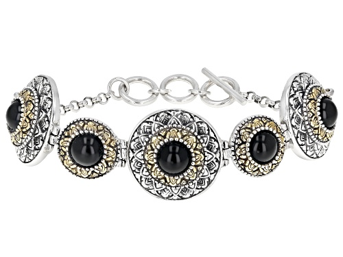 Photo of Global Destinations™ 8mm Round Black Onyx Silver & 18k Gold Over Silver Two-Tone 5-Stone Bracelet - Size 7.25