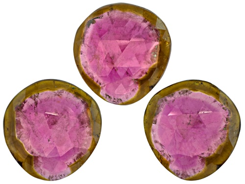 Photo of Set Of 3 Saribia Tourmaline™ Min 30.00ctw Mm Varies Faceted Free Form Shape/Size/Color Vary