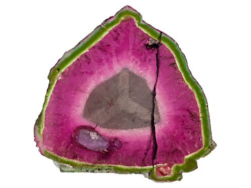 Photo of Brazilian Watermelon Tourmaline Min 30.00ct Mm Varies Free Form Slice Color Varies