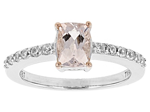 Photo of .68ct Rectangular Cushion Morganite With .34ctw Round White Zircon Sterling Silver Ring - Size 11