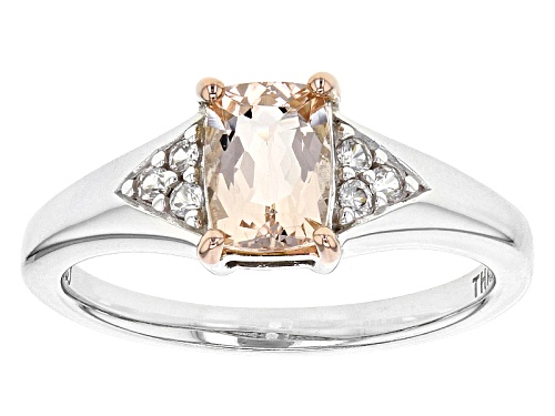 Photo of .68ct Rectangular Cushion Morganite With .10ctw Round White Zircon Sterling Silver Ring - Size 8