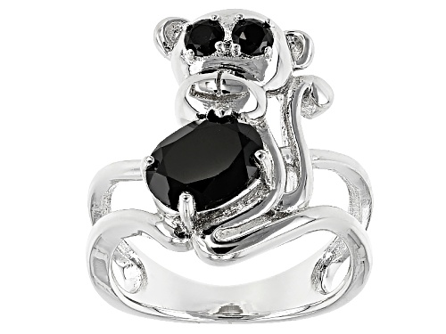 Photo of 2.68ctw Oval And Round Black Spinel Sterling Silver Monkey Ring - Size 5