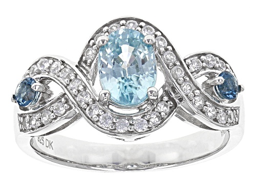 Photo of 1.00ct Oval Blue Zircon, .13ctw Round London Blue Topaz And .37ctw White Zircon Sterling Silver Ring - Size 7