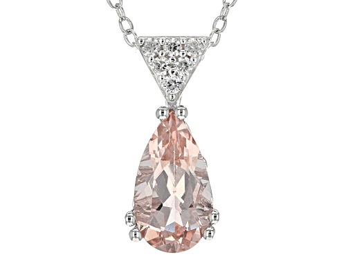 Photo of 1.23ct Pear Shape Morganite And .12ctw Round White Zircon Sterling Silver Pendant With Chain