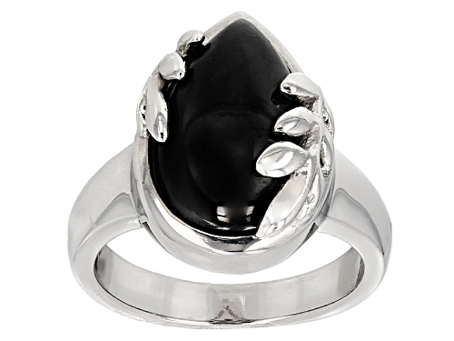 Photo of 10.00ct Pear Shape Cabochon Black Spinel Solitaire Sterling Silver Ring - Size 6