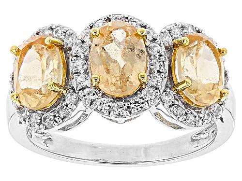 Photo of 2.80ctw Oval Imperial Hessonite™ With .38ctw Round White Zircon Sterling Silver 3-Stone Ring - Size 6