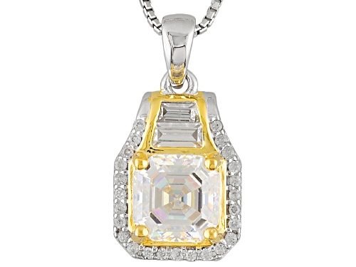 Photo of 2.53ctw Asscher Cut Lab Created Strontium Titanate And  White Zircon Two-Tone Silver Pendant W/Chain