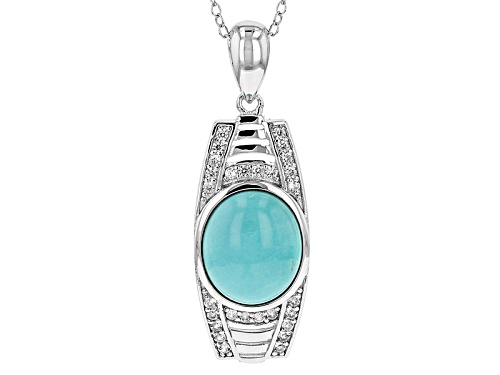 Photo of 12x10mm Oval Sleeping Beauty Turquoise And .34ctw Round White Zircon Silver Pendant With Chain