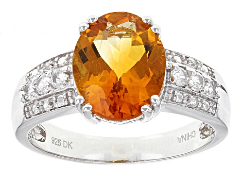 Photo of 3.00ct Oval Madeira Citrine And .27ctw Round White Zircon Sterling Silver Ring - Size 8