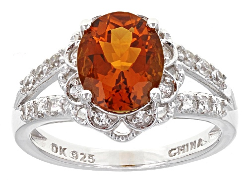 Photo of 2.04ct Oval Madeira Citrine And .47ctw Round White Zircon Sterling Silver Ring - Size 11