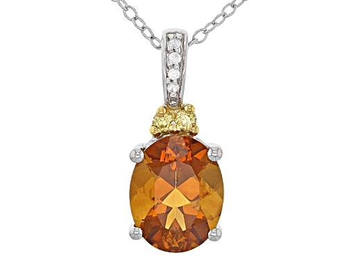 Photo of 2.00ct Madeira Citrine, .06ctw Yellow Sapphire, And .03ctw White Zircon Silver Pendant With Chain