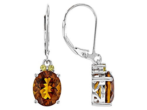 Photo of 3.96ctw Oval Madeira Citrine And .14ctw Round Yellow Sapphire Sterling Silver Dangle Earrings