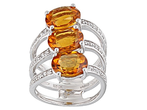Photo of 4.50ctw Oval Madeira Citrine And .35ctw Round White Zircon Sterling Silver 3-Stone Ring - Size 8