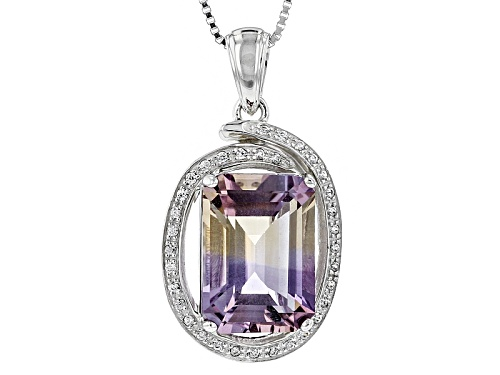 Photo of 5.73ct Emerald Cut Ametrine And .17ctw Round White Zircon Sterling Silver Pendant With Chain