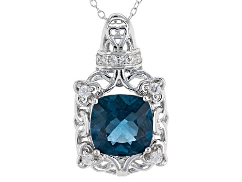 Photo of 4.68ct Square Cushion Teal Fluorite And .22ctw Round White Zircon Sterling Silver Pendant With Chain