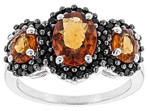 Photo of 1.61ctw Oval Hessonite And .41ctw Round Black Spinel Sterling Silver 3-Stone Ring - Size 6