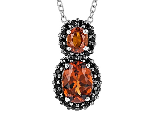 Photo of 1.61ctw Oval red Hessonite With .30ctw Round Black Spinel Sterling Silver Pendant With Chain