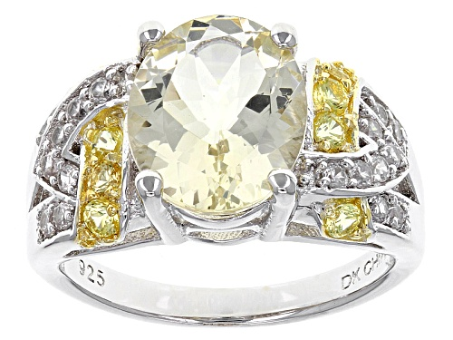 Photo of 2.72ct Yellow Labradorite, .32ctw Yellow Sapphire And .26ctw White Zircon Sterling Silver Ring - Size 8