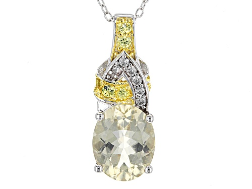 Photo of 2.72ct Yellow Labradorite, .26ctw Yellow Sapphire And .10ctw White Zircon Silver Pendant With Chain