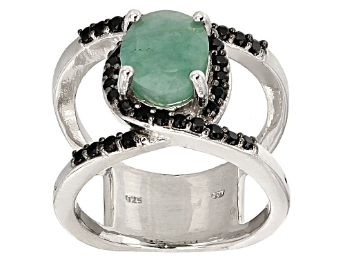 Photo of 2.60ct Oval Sakota Emerald With .48ctw Round Black Spinel Sterling Silver Ring - Size 5