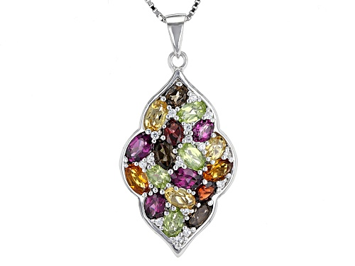 Photo of .54ctw Oval Brazilian Smoky Quartz With 3.20ctw  Mulit-Gemstone Sterling Silver Pendant With Chain