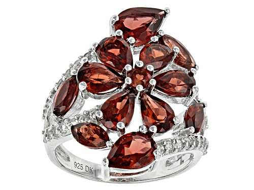 Photo of 5.31ctw Pear Shape And Marquise Vermelho Garnet™ With .61ctw White Zircon Sterling Silver Ring - Size 7