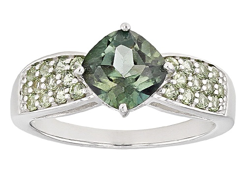 Photo of 1.53ct Square Cushion Emerald Envy™ Mystic Topaz® & .42ctw Green Sapphire Rhodium Over Silver Ring - Size 9