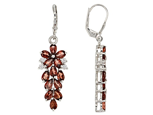 Photo of 7.00ctw Pear Shape Vermelho Garnet™ & .43ctw Round White Zircon Rhodium Over Silver Dangle Earrings
