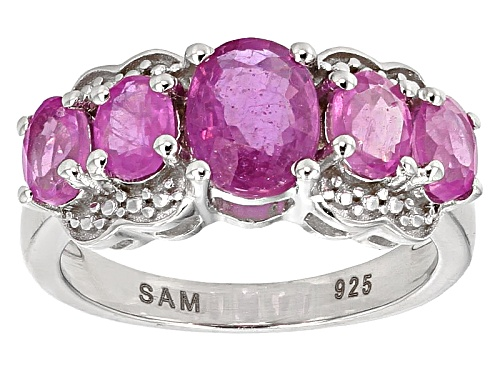 Photo of 3.92ctw Oval Pink Mahaleo Sapphire™ Sterling Silver 5-Stone Ring - Size 6