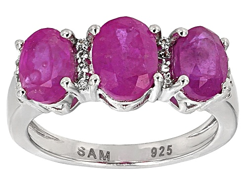 Photo of 3.96ctw Oval Mahaleo® Pink Sapphire With .09ctw Round White Topaz Sterling Silver 3-Stone Ring - Size 7