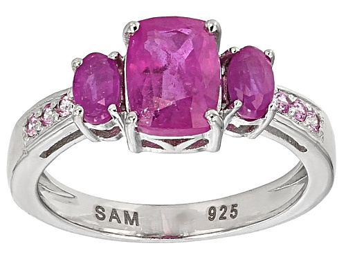 2.41ctw Cushion And Oval Mahaleo® Pink And .10ctw Round Pink Sapphire Sterling Silver Ring - Size 10