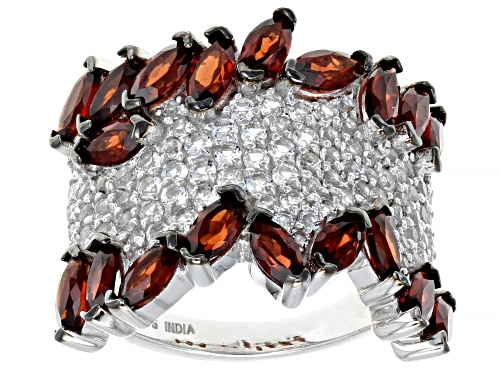 Photo of 4.00ctw Marquise Vermelho Garnet™ And 1.90ctw Round White Topaz Sterling Silver Band Ring - Size 12
