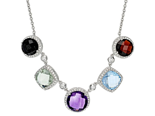 Photo of 21.36ctw Amethyst,Sky Blue Topaz,Prasiolite,Red Garnet,Black Spinel And White Zircon Silver Necklace - Size 18