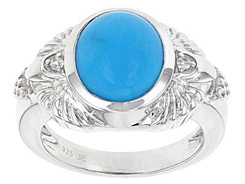 Photo of 12x10mm Oval Sleeping Beauty Turquoise And .04ctw Round White Zircon Sterling Silver Ring - Size 7