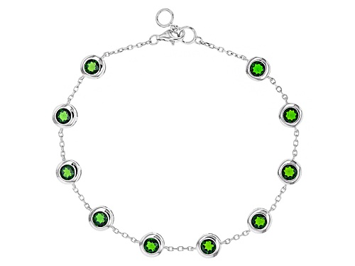 Photo of 5.00ctw Round Russian Chrome Diopside Sterling Silver Bracelet - Size 8