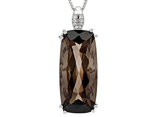 Photo of 20.55ct Rectangular Cushion Smoky Quartz And .03ctw White Zircon Sterling Silver Pendant With Chain