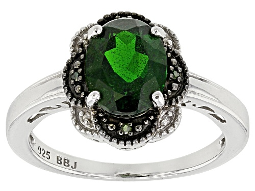 Photo of 1.63ctw Oval Russian Chrome Diopside With 4 Green And 4 White Diamond Accents Sterling Silver Ring - Size 12
