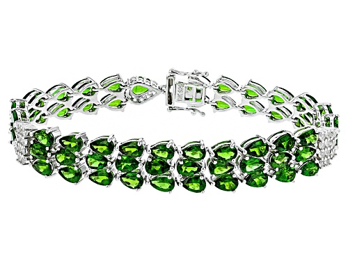 Photo of 21.60ctw Pear Shape Russian Chrome Diopside And 1.44ctw Round White Topaz Sterling Silver Bracelet - Size 8