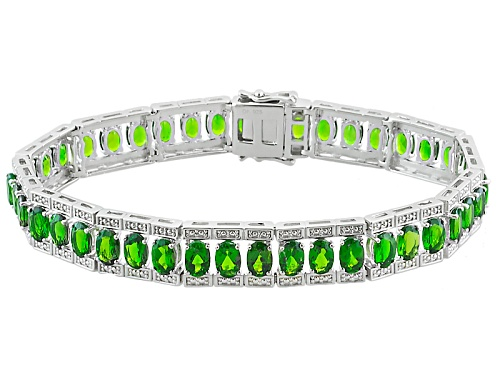 Photo of 17.45ctw Oval Russian Chrome Diopside Rhodium Over Sterling Silver Bracelet - Size 7.25