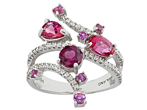 Photo of .37ctw Lab Created Bixbite, .66ctw Rhodolite Garnet With .28ctw White Zircon Sterling Silver Ring - Size 5