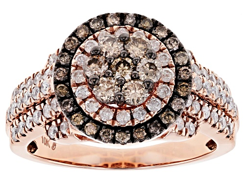 Photo of 1.26ctw Round Champagne And White Diamond 10K Rose Gold Ring - Size 8