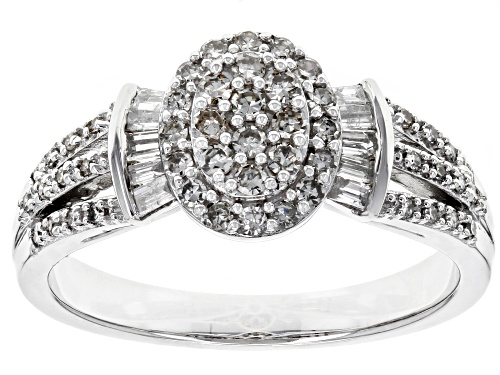 Photo of 0.50ctw Round and Baguette White Diamond 10k White Gold Ring - Size 7